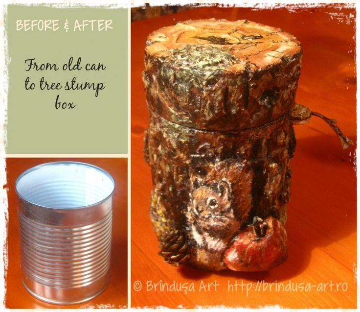 Repurpusing/ recycling an ordinary can: painted tree stump box. The squirrel and the apple are three-dimensional... Tree bark texture made by hand, using various materials. Handmade& unique.  Reciclarea unei conserve obişnuite de mazăre:  cutie pictată, în formă de trunchi de copac. Veveriţa şi mărul ies în relief. Textura asemănătoare scoarţei de copac a fost realizată folosind diferite materiale. Handmade, unicat. #recycling #repurposing #cans #painting #conserva #reciclare