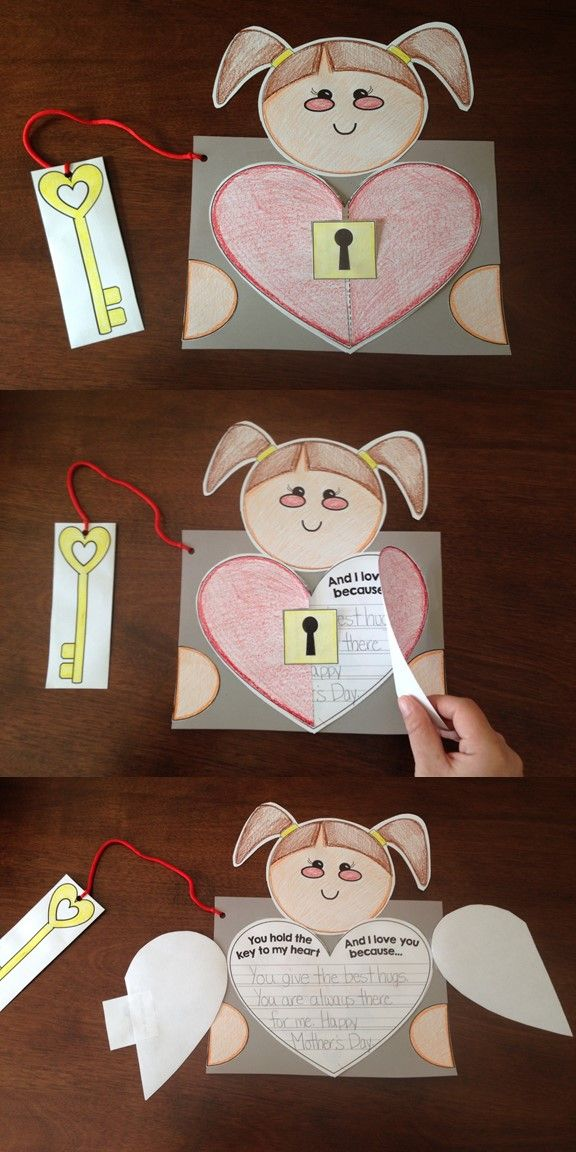 "Mothers Day Craftivity: Students design and color themselves(boy or girl), a heart and a special key. This key ""unlocks"" their heart to reveal reasons why mom, aunt, grandmother, friend holds the key to their heart with a great creative writing page. Tracing pages included for pre-writers."
