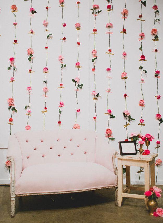 Fresh Flower Wall | 21 Stunning DIY Wedding Photo Booth Backdrops