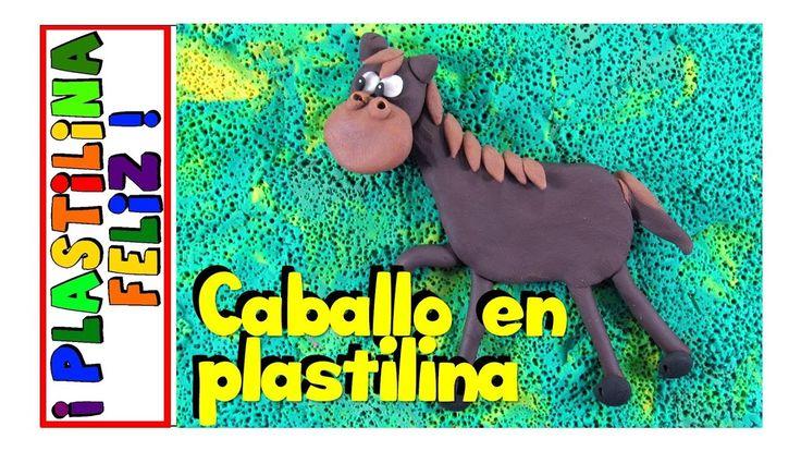 caballo en plastilina, caballo de plastilina, animales fáciles de la granja en plastilina