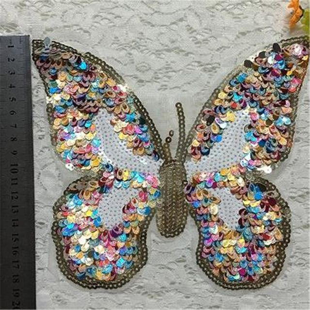 Pailletten kleurrijke vlinder patches voor kleding winter jas vrouwen jurk, sweatshirt, jumpsuit, bodysuit, t-shirt vrouwen, eans