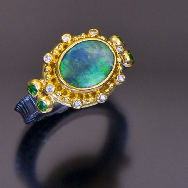 Our love affair with Boulder Opal continues... #zaffirojewelry #cjdgjewelry #oneofakind #madeinpdx #showmeyourrings #salon137