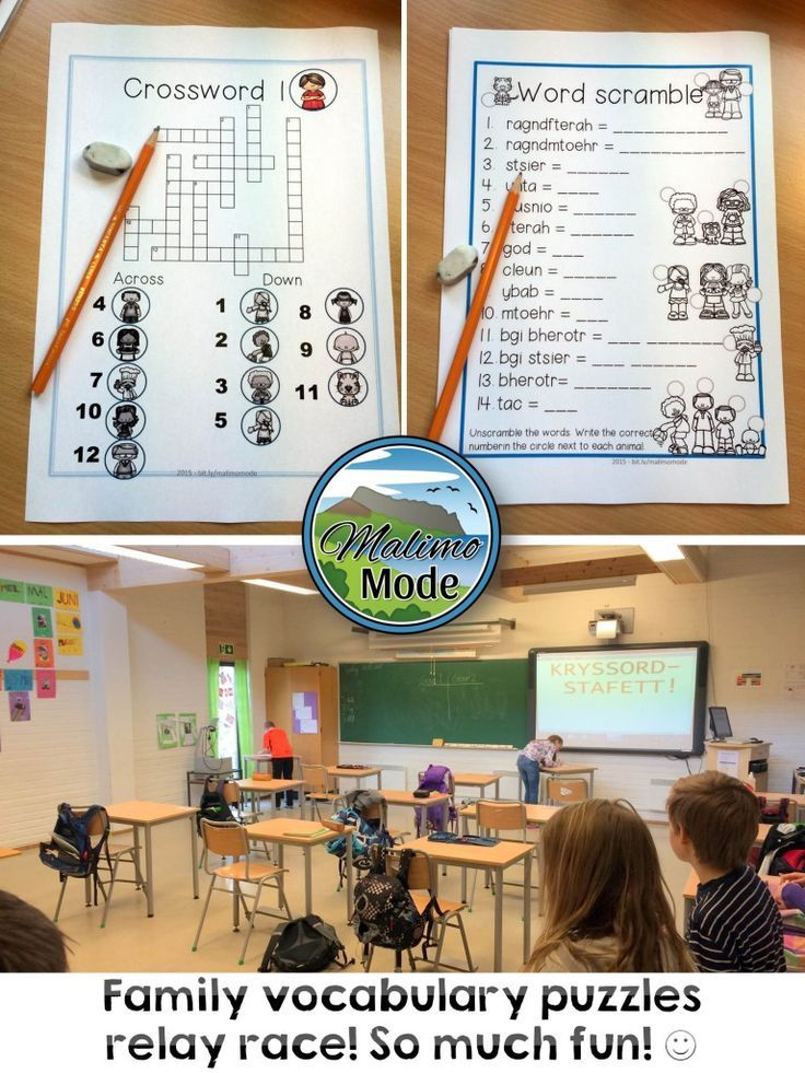 A puzzle relay race inside and outside the classroom. Each group is located in a corner, and race to the opposite corner to write one word each on the puzzle. A complete word list is on the wall outside the classroom, and each group can check the list 5 times! Top left: The crossword puzzle with family vocabulary. Top right: Family vocabulary words, scrambled up. When they've unscrambled the words, the numbers must be places next to the correct image! Bottom row: Eager kids waiting in turn!