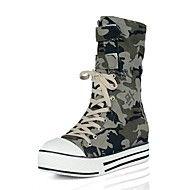 Stövlar ( Brun/Grön ) - till KVINNOR - Låga stövlar - med Wedge klack - Wedges/Rundtå/Fashion Boots - i Kanvas