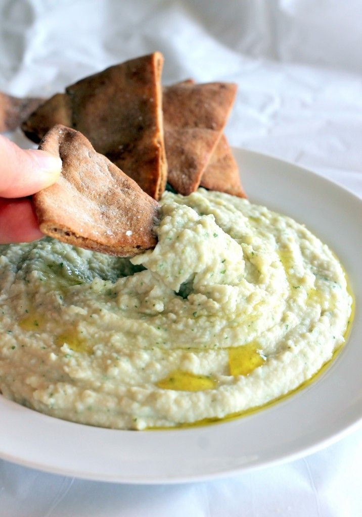 White Bean Basil Hummus with Homemade Toasted Pita Chips