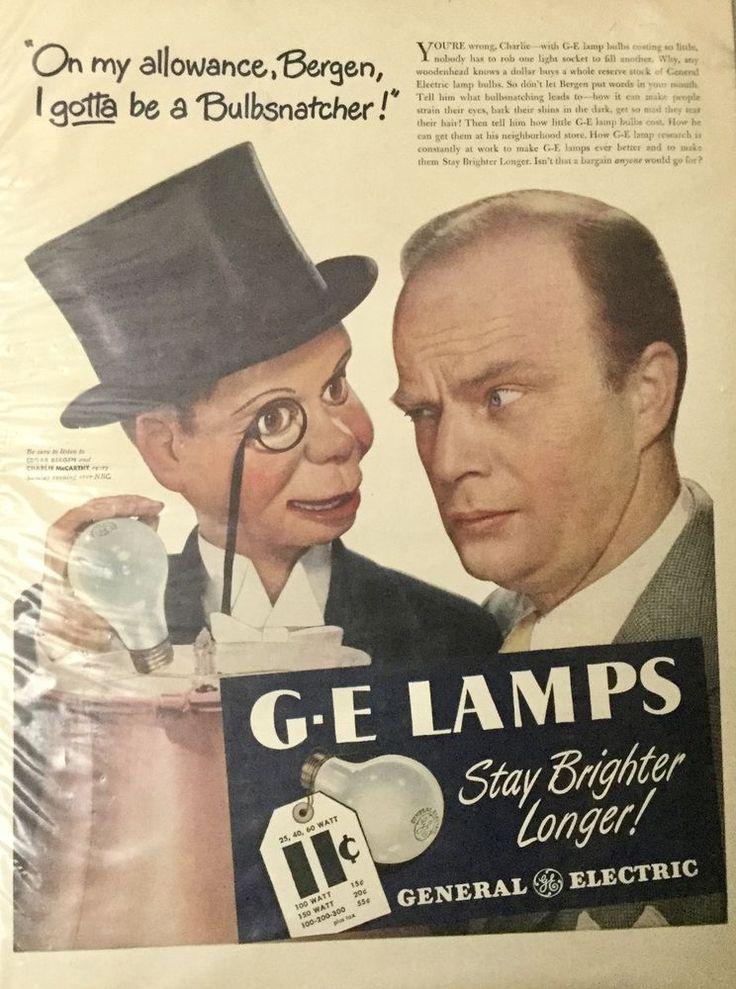 VINTAGE 1946 EDGAR BERGEN, CHARLIE McCARTHY *  G. E. LAMP LIGHT BULBS