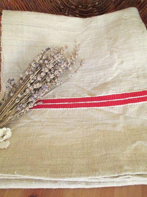 232. Flax linen towel vintage organic linen towel pure flax