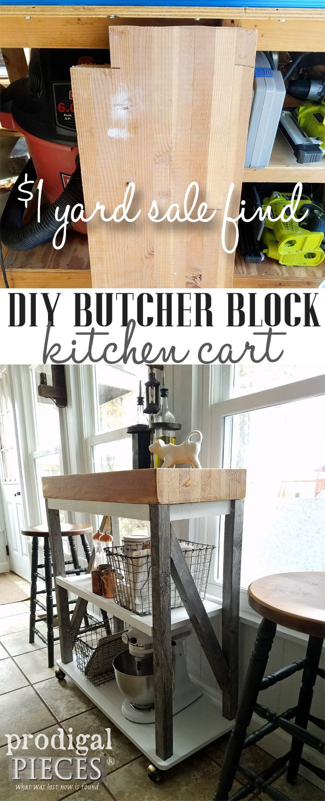 Check it out! A $1 garage sale find gets turned into a DIY Butcher Block Cart built by Larissa of Prodigal Pieces | prodigalpieces.com