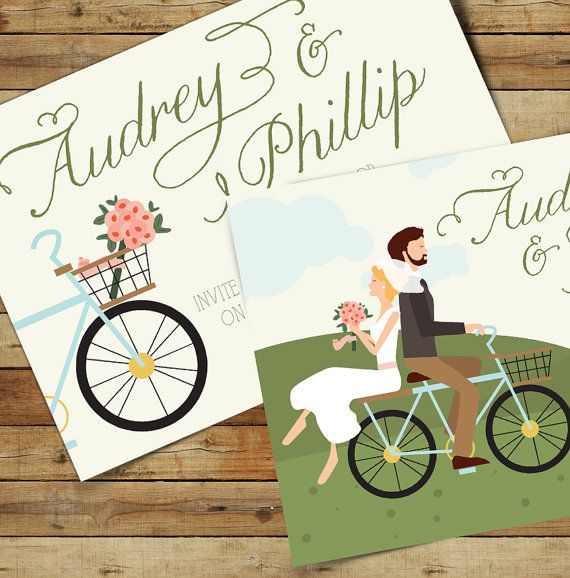 Ride On - Custom Bike Romantic Theme Wedding Invites