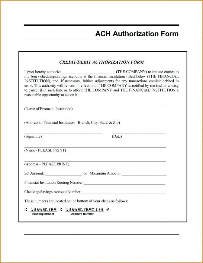 Forms Templates Co Authorization Form Template Free Ach