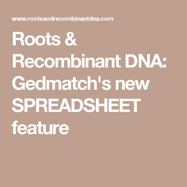 Roots & Recombinant DNA: Gedmatch's new SPREADSHEET feature