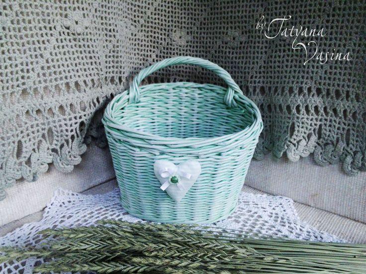 """Купить Корзиночка плетеная """"Мятный полдень"""" - мятный, свежий, корзинка, корзина плетеная, корзиночка, paper basket, weaving"""