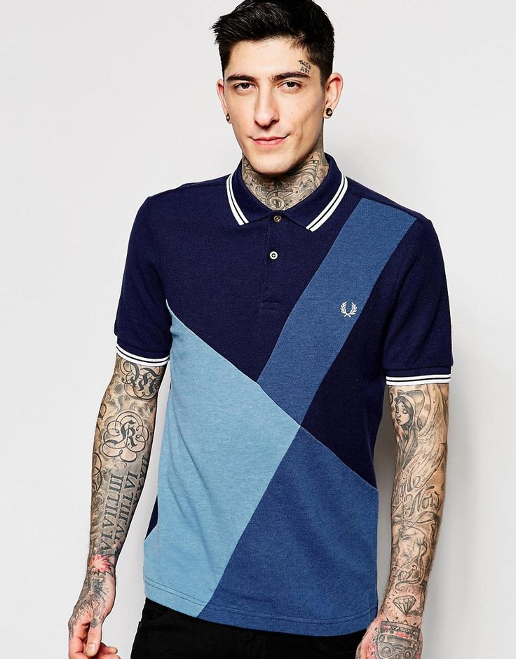 Fred+Perry+Polo+Shirt+with+Colour+Block+Panel+Slim+Fit