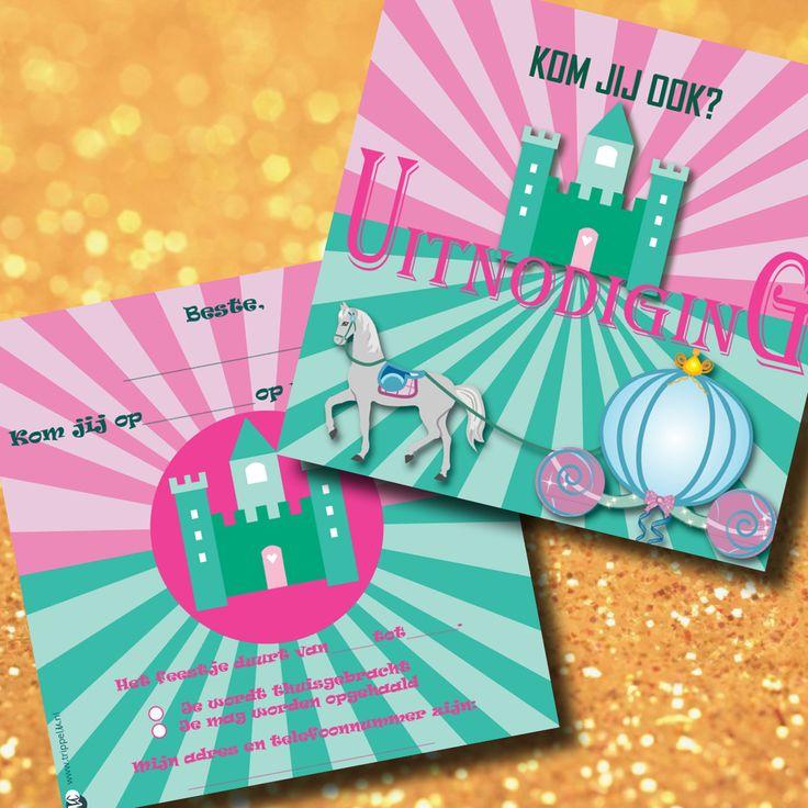 KidsArt - Uitnodiging kinderfeestje meisjes prinses kasteel paard
