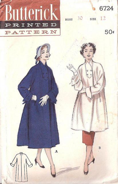 1950's Butterick 6724 Ladies Coat Pattern