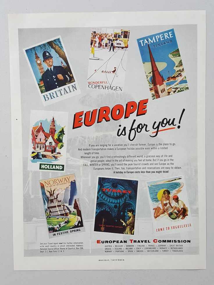 European Travel Commission Britain Copenhagen Holland 1956