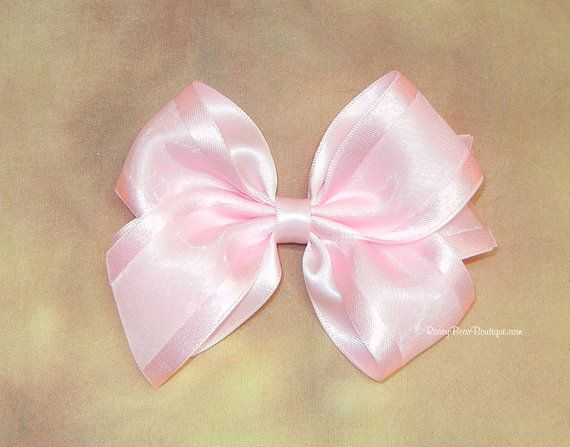 """Sheer & Satin 4"""" Hair Bow - Many Colors! - Dressy 4"""" Boutique Bow - Fancy Medium Satin and Sheer Bow - Choose Your Ribbon Color"""
