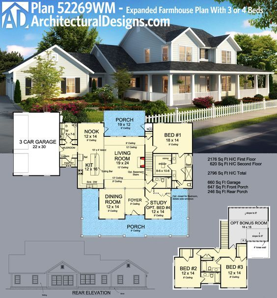 Country Farmhouse Plan 52269WM. 3 Or 4 Beds, Almost 2,800 Square Feet. Ready