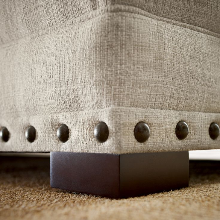 Bernhardt. Cantor Sofa with tape and spaced nails, in textured woven - detail