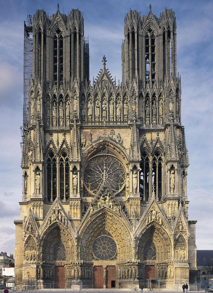 The monumental 81 metre tall façade of Reims Cathedral, France, constructed in the 13th & 14th centuries