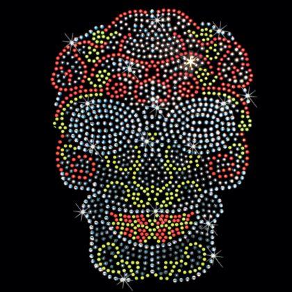 7x10 - NEON ŞEKER KAFATASI - (TAŞLAR / STUDS) - Neon, kafatası, taşlar, çiviler, şeker kafatası, Materyal Transfer, Kafatasları