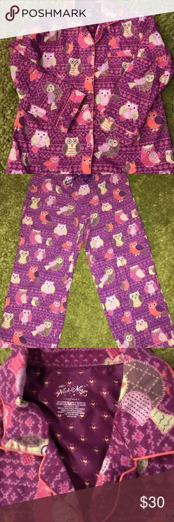 Nick And Nora Owls Pajama SET size L Great Condition Nick and Nora Owls PJ set, flannel like new!  Pants and top size L! Nick & Nora Intimates & Sleepwear Pajamas
