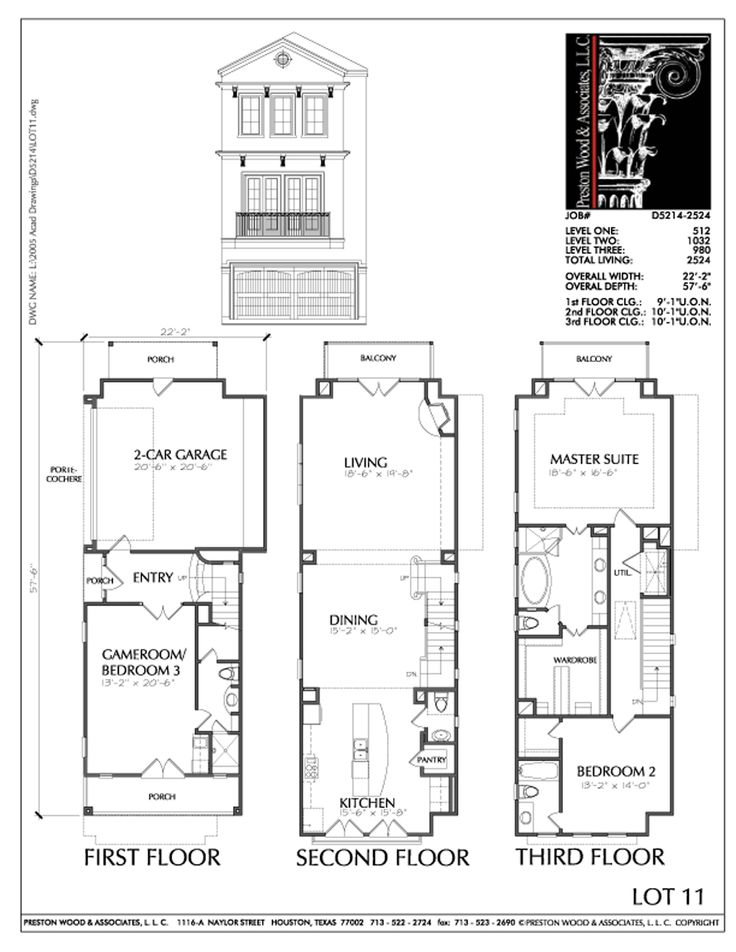 Townhouse Plan D5214 2524 If The Garage Was Sunken To Basement Level.