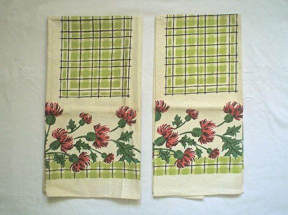 Unused Red and Green Tea Towels Vintage by DelightfulDressmaker, $24.00