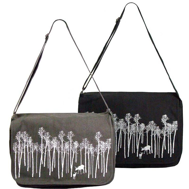 Vintage feel messenger bag with forest folks print <br />(W)40 X (H)29 X (D)12 cm