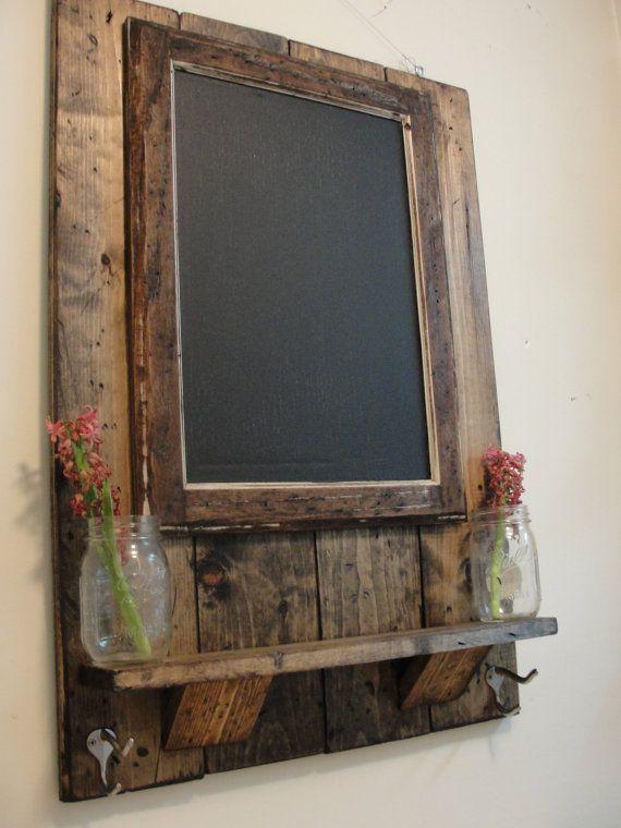 Pallet Framed Chalkboard And Shelf