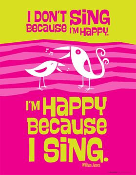 I'M HAPPY BECAUSE I SING......,  yes! Without a daily dose of this life can be dull :)