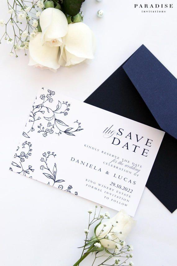 Badelia Elegant Save the Date Cards, Printable Files or Printed