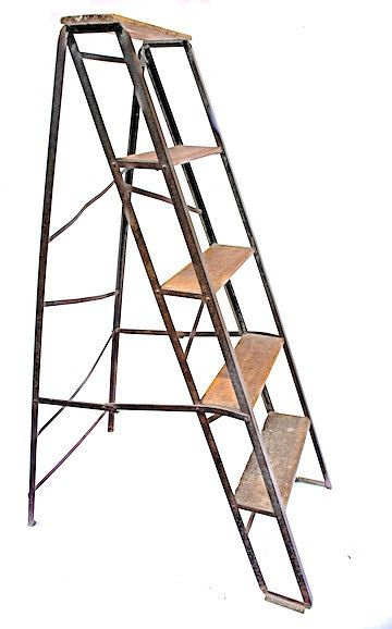 ANTIQUE FRENCH FOLDING ECHELLE PLIANTE LADDER  #2862  DIMENSIONS: 49 H x 20 W x 31 D  FRANCE CIRCA 1890  WONDERFUL FOUR TIERED WOOD & METAL WORKERS LADDER; USE FOR DISPLAY ANYWHERE FROM LIVING ROOM TO ENTRY HALL OR LIBRARY  CONDITON: EXCELLENT