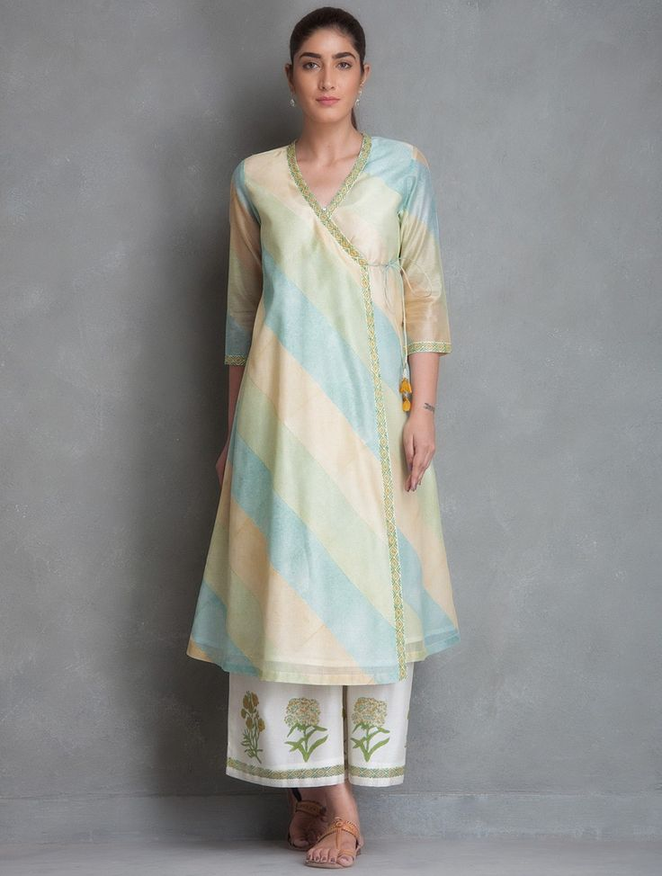 Buy Blue-Green-Yellow Block Printed Chanderi Angrakha Kurta Online at Jaypore.com