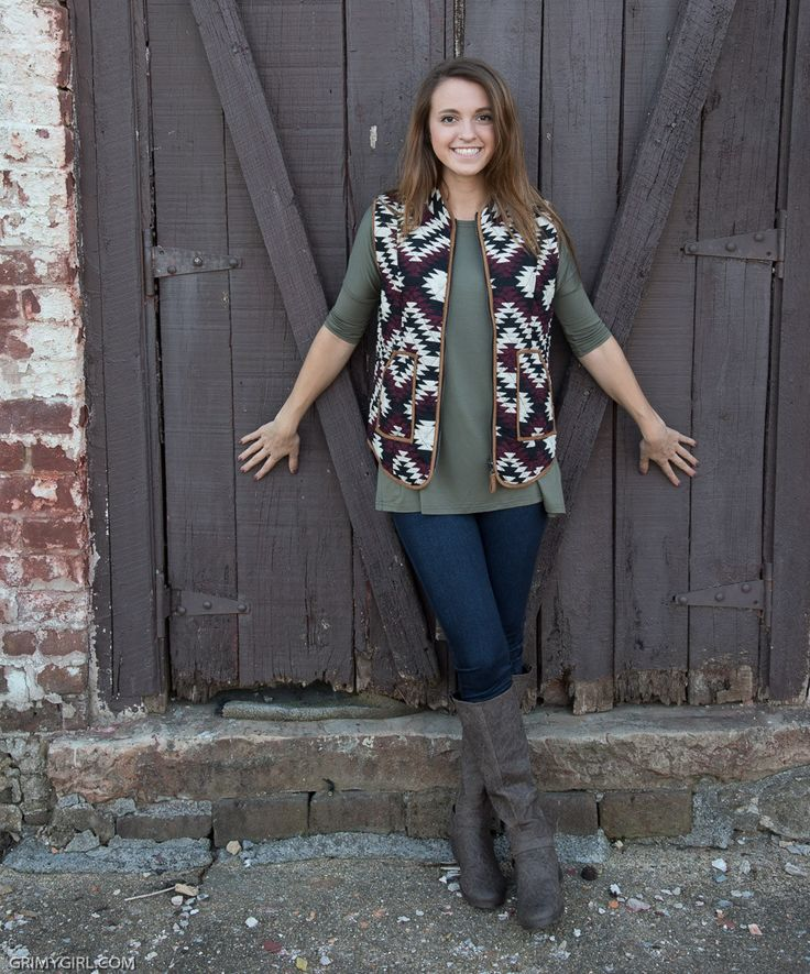 Sweet sweet fall weather and this aztec jacket; what more could you want? It is the perfect accent peice to dress up an otherwise plain outfit. This vest is the perfect fall piece. SML Kady is wearing