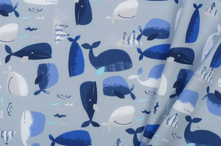 B* Inspired by Poppy Katoen Poplin Wally The Whale Light Grey