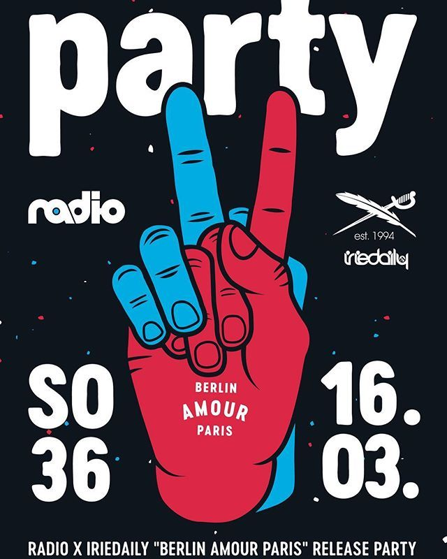 """Radio x IRIEDAILY """"Berlin Amour Paris"""" collection release party next Friday at SO36. Line-up: @beathoavenz @kit_kut & special guest  #radioskateboards #iriedaily #so36 #kreuzberg #berlin #party #hard"""
