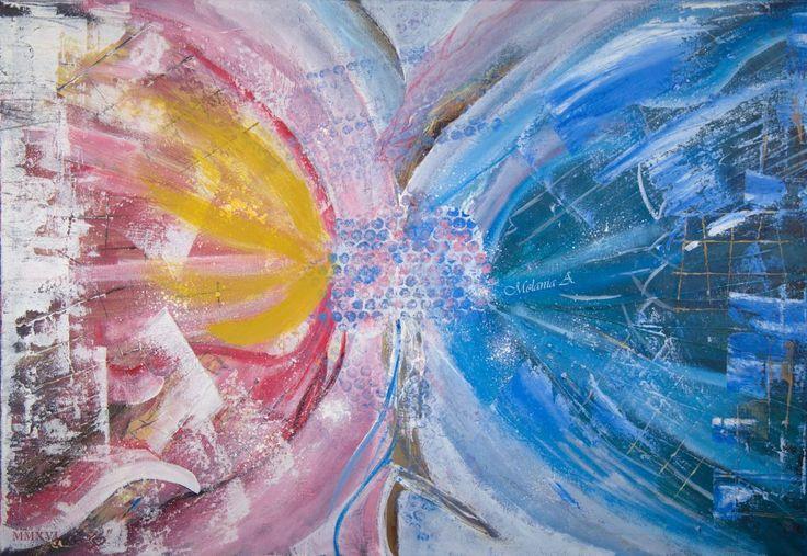 Sarutul lumii – acrilic 70×90 Din valuri de lumina formase-va sufletul ce deasupra noastra zbura-va, spre a ne arata minunea unei vieti pe care vom pasi peren simtindu-ne singuri. Fara a indrazni sa cunoastem ca singur nimeni nu poate fi, caci omul si al lui suflet din Tot a fost creat.