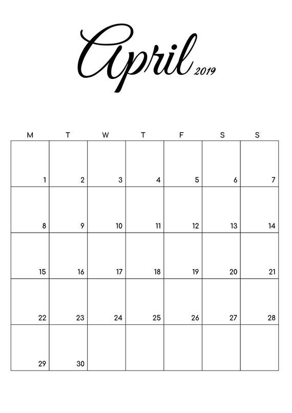picture about April Free Printable Calendar named No cost Printable Calendar March April 2019, Black and White