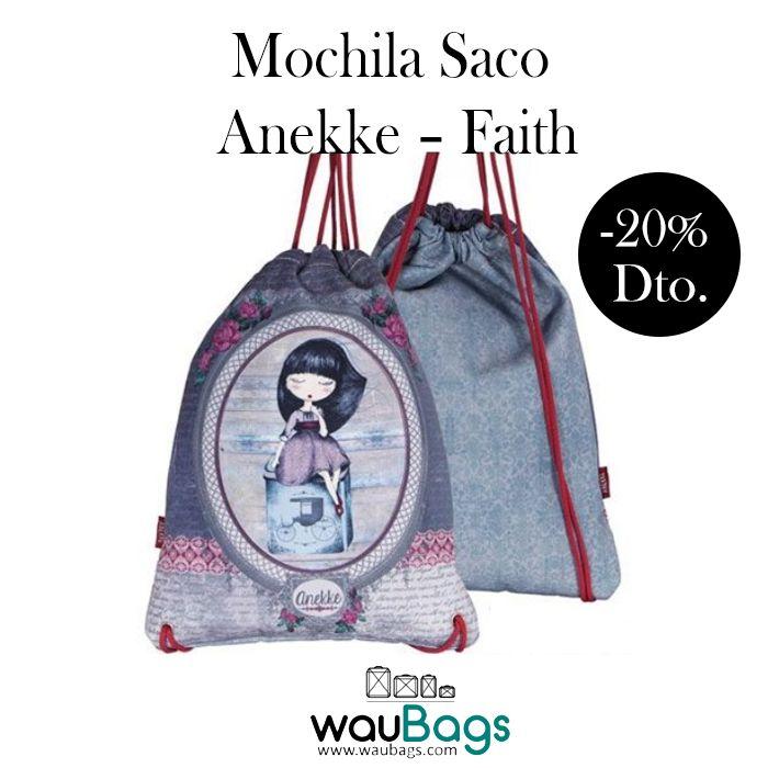 """Consigue en waubags.com una preciosa Mochila Saco Anekke de la colección """"Faith"""", ahora por tan solo 12,72€!!  Con un amplio compartimento principal, un bolsillo con cremallera en su interior y tirantes al hombro para llevarla cómodamente a la espalda.  @waubags #anekke #mochila #saco #mochilaplana #mochilacuerdas #complementos #muñecas #oferta #descuento #rebajas #waubags"""