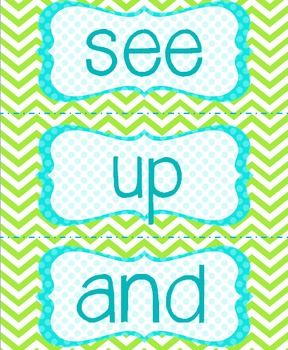 Sight words for classroom Word Wall!  Bright blue, green, and white chevron & polka dots. LOVE.