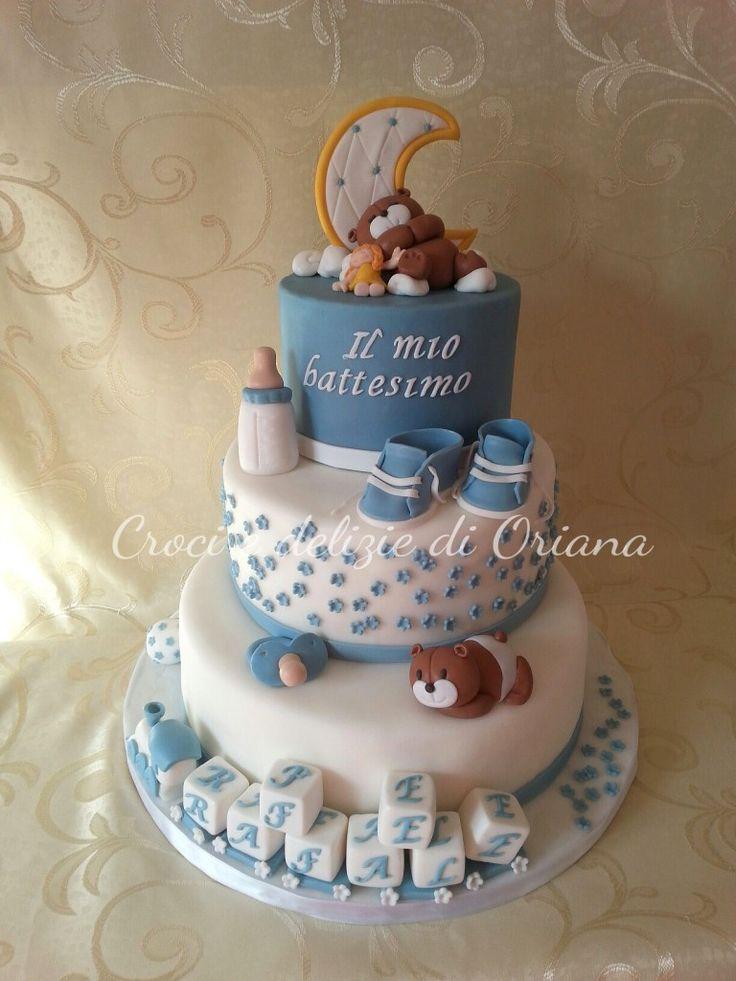 Torta battesimo con orsi | babyboy cake, christening cake, bear cake http://blog.giallozafferano.it/crociedeliziedioriana/2014/10/torta-battesimo-con-orsi.html