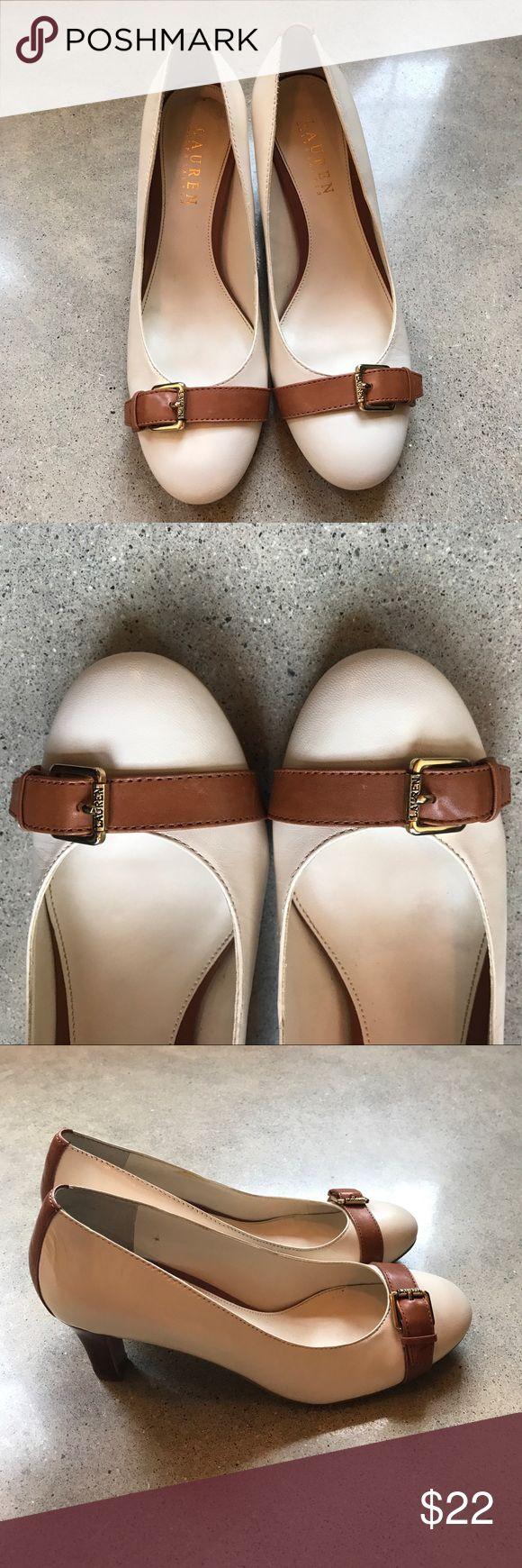 Ralph Lauren Heels Gently worn, great condition! Cream heels with tan buckle at toe. Size 7B. Lauren Ralph Lauren Shoes Heels