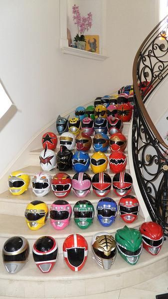 I found 'Mighty Morphin Power Ranger Helmet collection' on Wish, check it out! - so cool oh my gosh childhood