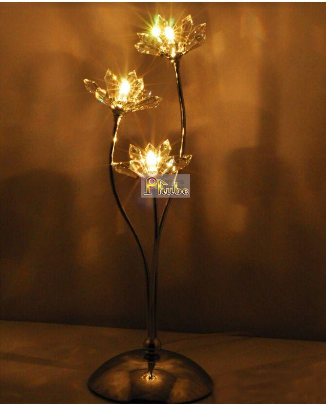 Современные хрустальные настольные лампы хрустальный цветок настольная лампа Ued в ночной гостиная гарантировано 100% + бесплатная доставка