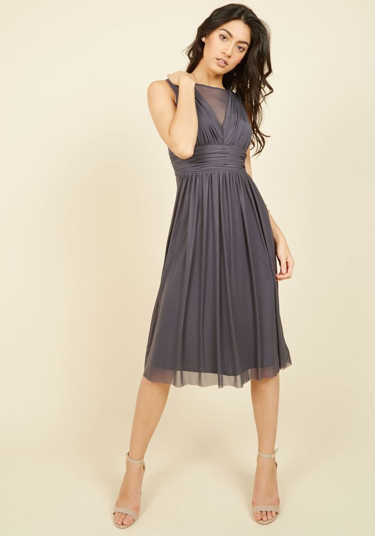 In the Name of Lovely Midi Dress - Grey, Solid, Cocktail, Wedding Guest, A-line, Sleeveless, Woven, Best, Scoop
