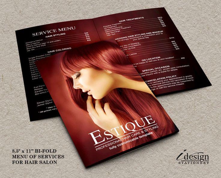 Hair Salon Service Price List  | Professional Hair Stylist Menu By iDesignStationery On Etsy