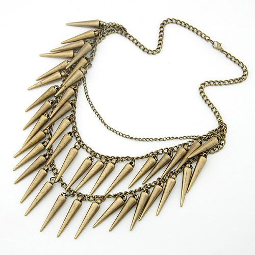 2017 Fashion European Jewelry Punk Spike Choker Necklace Women Double Layered Bronze Rivet Tassel Pendants Necklaces Chain
