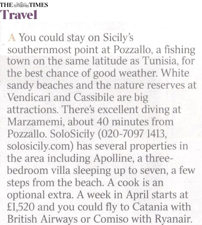 """Have a look at this """"The Times"""" article about our villa Apolline in Pozzallo, Syracuse. #Sicily #Villas #Sicily #Syracuse #sandybeaches"""