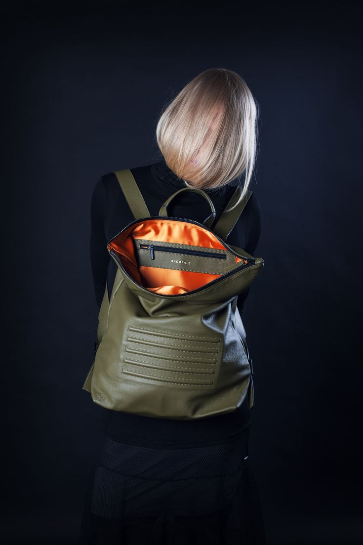 "Olive green, minimal, unisex big backpack - rucksack. Zip fastener, inside pocket, 100% Italian leather. Perfectly fits 15"" Macbook, made in Europe. By Bagology London"